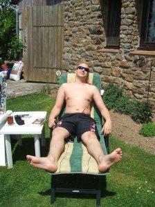 Stuart sunbathing